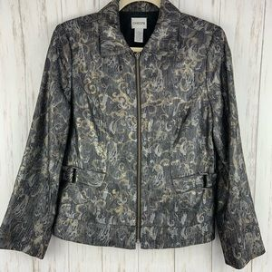 CHICO'S Zippered Metallic Shimmer Jacket Size 0